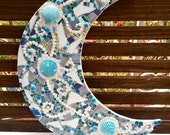 Large Moon Mosaic. Ocean Mixed Media Art. Sea Shell Decor. Beach House Wall Hanging. Ready to Hang Artwork. Blue Lunar Design.