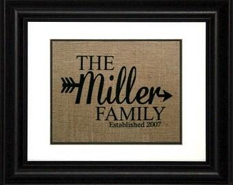 Last Name Print - Burlap Print - Family Name Sign - Family Gifts - Arrow Decor - Last Name Gifts - Last Name Decor - Wedding Gift - Family