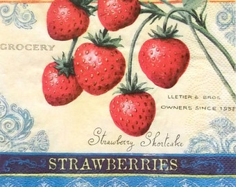Set of 2 pcs 3-ply Strawberries paper napkins for Decoupage or collectibles 33x33cm, Fruits napkins