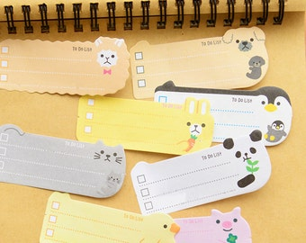 Sticky Notes - Memo Notes - 1 Pack of Sticky Animal Notes, To Do Notes, 2 Rolls of Skinny Paper Tape - Animal Memo Pads - School Lunch Notes
