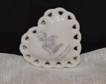 "Precious Moments Heart Trinket Box Vintage Heart Shaped Ring Box ""You Have Touched So Many Hearts"" Precious Moments Miniature Collectible"