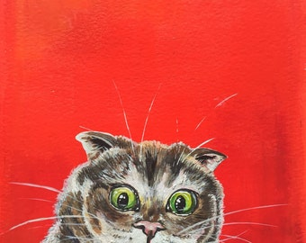 Original acrylic cat painting. 'We're getting a WHAT?!? Free UK delivery.