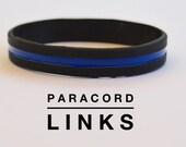 Thin Blue Line - Black Silicone Bracelet