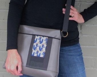 Large Vegan Leather Crossbody Bag - Blue Fox Patchwork Messenger Bag
