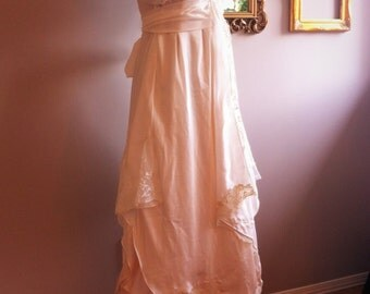 Silk and vintage lace boho wedding dress