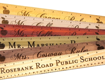SALE!! Personalized Teacher Gifts. Solid Wood Rulers with engraved name. Natural wood with no paint or stain. Kids Rulers
