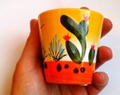 Terracotta planters - small yellow and orange Mexican cactus terracota hand-painted planter / plant pot