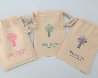 Jesus Loves You Favor Bag with Holy Cross