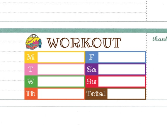 Weekly Workout Plan Stickers For Erin Condren Horizontal Layout