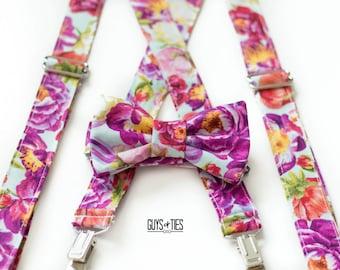 floral bow tie, bow tie suspenders, floral suspenders, wedding floral ties, boys suspenders, mens floral bow tie, boys bow ties, floral ties