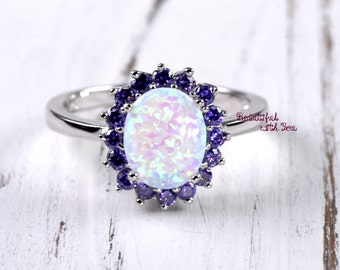 White Opal Engagement Ring Amethyst Cubic Zirconia Lab Created Opal Wedding Band for Her Promise 925 Sterling Silver Jewelry Victorian Style