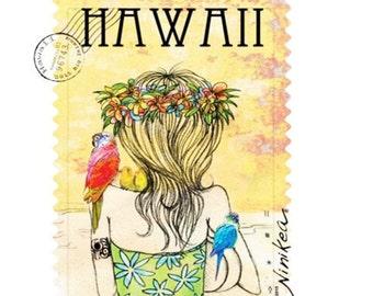 Baby T-shirt, Bird Wahine, Toddler T-shirt, Kid T-shirt, Hawaii Baby – white cotton fabric, exclusive design – handmade in Hawaii