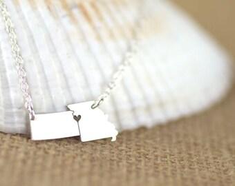 Kansas City Necklace - Kansas Missouri, Missouri Necklace, Kansas Necklace, Gold Fill and Rose Gold Fill available