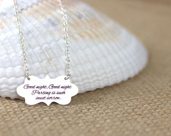 Fancy Banner Name Necklace - Engrave any word or phrase, custom banner necklace, fancy label