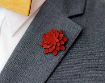 Padauk Lapel Pin - Wood Lapel Pin - Mens lapel flower
