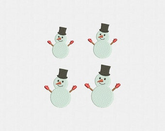 Mini Snowman Machine Embroidery Design - 4 Sizes