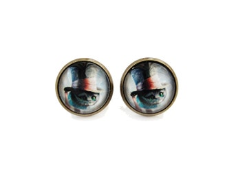 Cheshire Cat in Top Hat - Alice in Wonderland stud post earrings, 12mm glass dome image cabochons, book style earrings