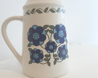 Taunton Vale blue and white flower power sugar sifter 1970s