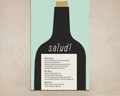 Custom Drink Menu - Wine List, Wine Bottle with Cork, Printable PDF Template, Single Side, Bar, Pub, Tavern, Brunch, Cafe, Drinks Specials