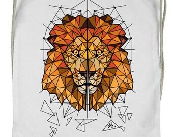 "40% OFF cotton Bag Backpack-digital printing ""Polygonal Lion"""