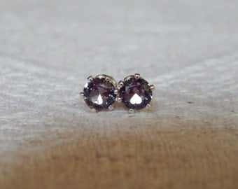 Alexandrite 4mm Studs, Alexandrite Stud Earrings, Alexandrite Posts, Color Change Alexandrite, June Birthstone, Lab Created Alexandrite
