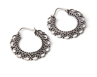 Small Mandala White Brass  Hoop Earrings Tribal Earrings Jewellery Free UK Delivery Gift Boxed WB5 WBH1