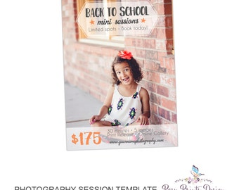Back to School Mini Session Marketing Board - Template for Photographers - Digital Photoshop Template - 5x7 Photography Design - BTS03