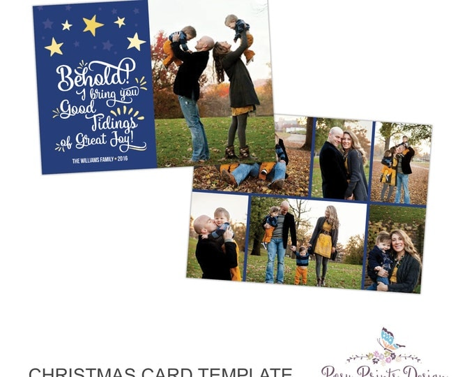 Christmas Card Photoshop Template - 5x7 Photo Card - INSTANT DOWNLOAD or Printable - CC31