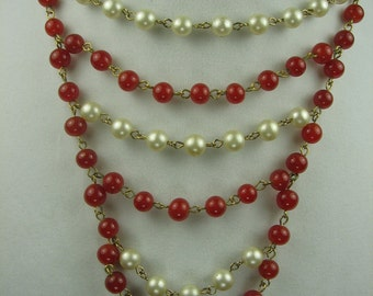 Vintage Red Marvella Beaded Necklace with Faux Pearls