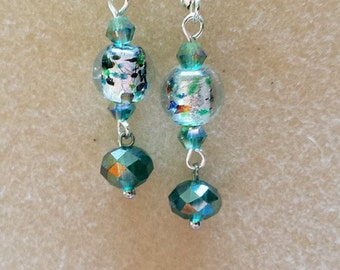 Blue Green and Silver Foil Bead Fish Hook Earrings