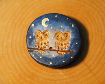 Owl magnet - Owl fridge magnets - Handmade magnets - Refrigerator magnets - Owl decorations - Clay owl ornament - Hand painted decorations