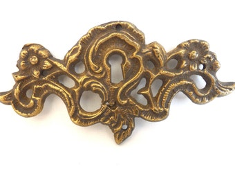 Antique Brass Keyhole cover, escutcheon, keyhole frame plate, floral. #646G64KC