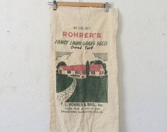 Vintage Grass Seed Sack // Rohrer's, cotton muslin seed bag,