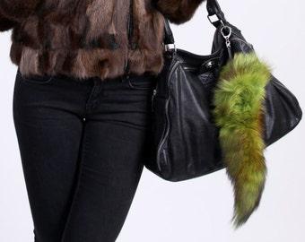 real fox tal keychains / bag charms