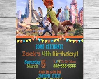 Zootopia Invitation Chalkboard // Zootopia Birthday Party // Zootopia Invite Printable Favors // Zootopia Printable Invite