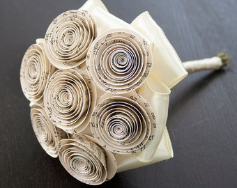 Book Page Bouquet - Book Themed Wedding - Paper Flower Bouquet - Book Page Flowers - Paper Flowers - Vintage Wedding Bouquet