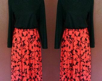 Vtg Henry Lee Day Dress/Long Sleeves/Black and Red/Medium