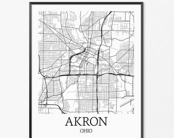 Akron Map Art Print, Akron Poster Map of Akron Decor, Akron City Map Art, Akron Gift, Akron Ohio Art Poster