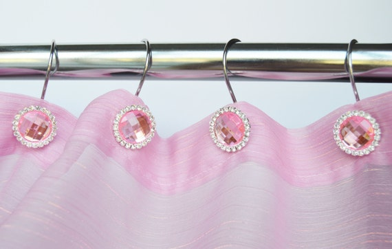 Shower Curtain Hooks Rings Pink Shiny Cute By Americancuteness