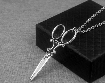 Silver Scissors Necklace -Scissors Pendant Necklace -With Gift Box