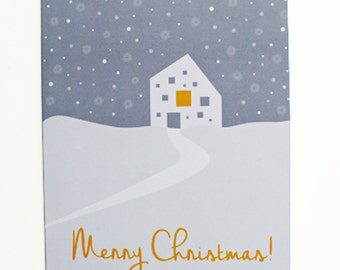 Merry Christmas Greeting Card, White Minimalist Holiday Card, Christmas Family House Card, Minimal Snowy Winter Art, Sweet Christmas Cards