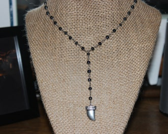 Gunmetal Beaded Tooth Necklace