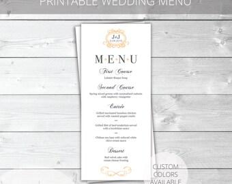 Peach/Gray Printable Wedding Menu | Classic | Jennifer Collection | Custom Colors Available