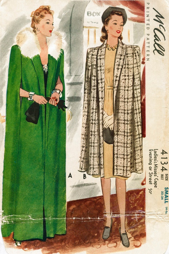 1940s 40s Vintage Women S Sewing Pattern Fur Collar Cape