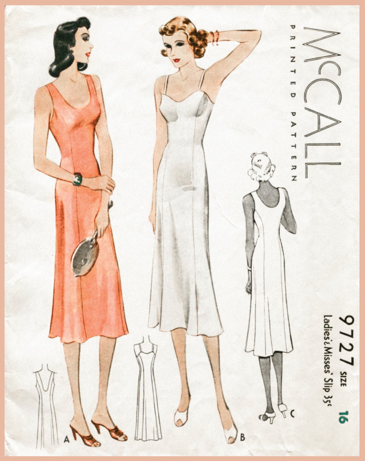 1930s 30s vintage lingerie sewing pattern slip dress negligee