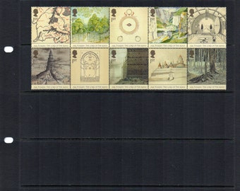 Lord of the Rings JRR Tolkien stamp set, fresh unused mint, 10 postage stamps, framing, craft or art project, collecting.