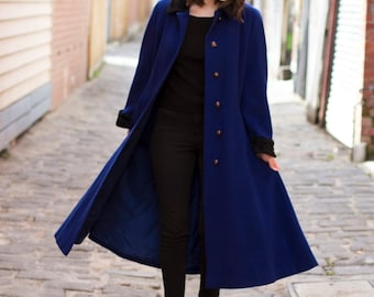 Vintage WEINBERG PARIS Cobalt Blue Coat / Blue Coat / Made in France / 1930s Inspired / M/L