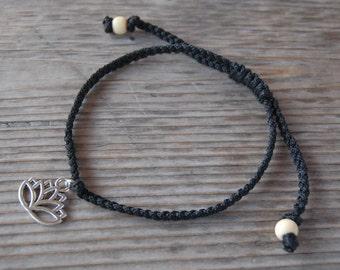 Lotus Anklet,Lotus Bracelet,Adjustable Drawstring,Bohemian Anklet,Gypsy Anklet,Summer Anklet,Woman,Ladies Anklet,Girls Anklet