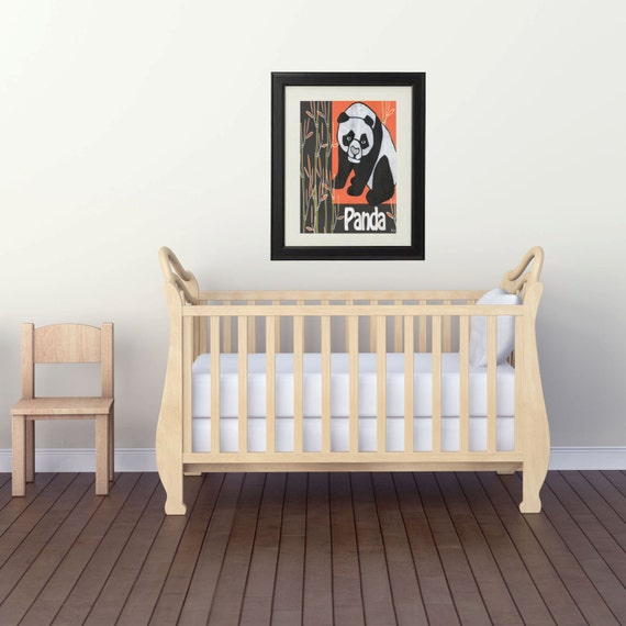 Panda print for home decor panda bear art print by for Panda bear decor