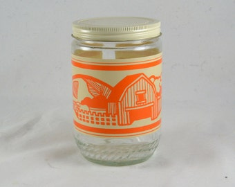 Anchor Hocking Jar - 4 Seasons Peanut Butter Jar - Vintage 22 Ounce - Orange Autumn Farm Barn Tractor Scene